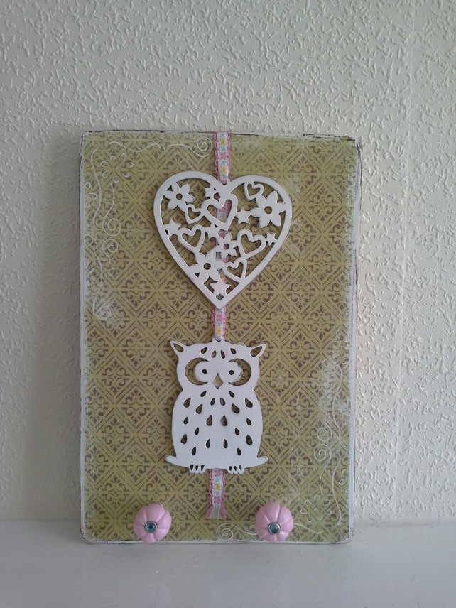 Heart & Owl wall plaque