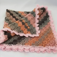 Chunky Crochet Blanket - With a Delicate Pink Picot Border
