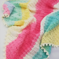 Colourful Crocheted Soft Baby Blanket, Christening, Baby Shower, Gift, Present