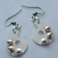 Sterling silver artist's paint palette earrings