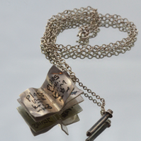 Sterling silver book and pencil pendant for cunning plans