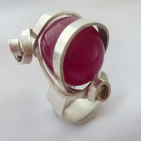 Sterling silver wrap ring with cherry stone