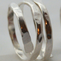 Sterling silver hammered wrap ring to fit your finger or thumb