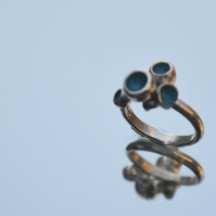 Sterling silver turquoise enamel bubble ring
