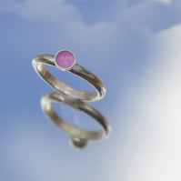 Sterling silver candy pink enamel ring