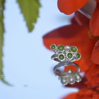 Sterling silver green enamel ring