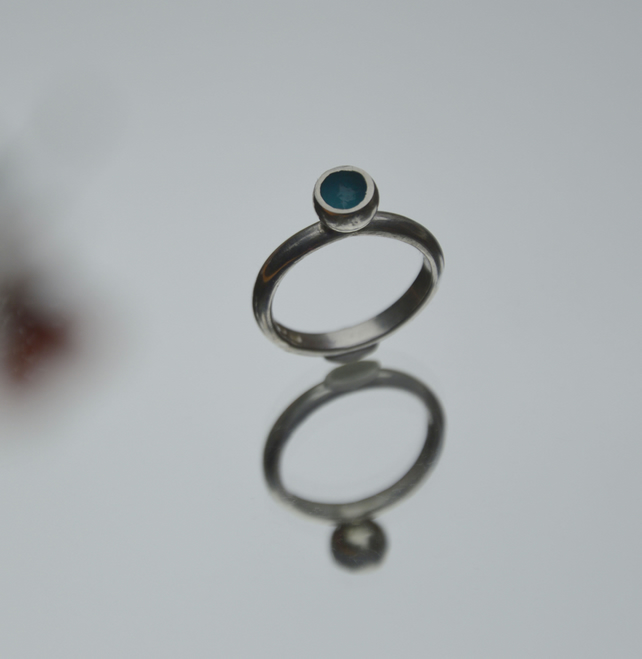 Sterling silver & turquoise enamel ring