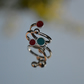 Sterling silver red and turquoise enamel wrap ring to fit your finger or thumb