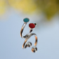 Sterling silver red and turquoise bubble enamel wrap ring
