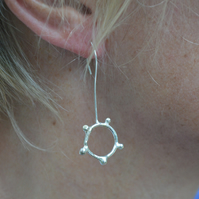 Sterling silver bubble hoop earrings