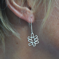 Sterling silver festive Christmas tree drop earrings