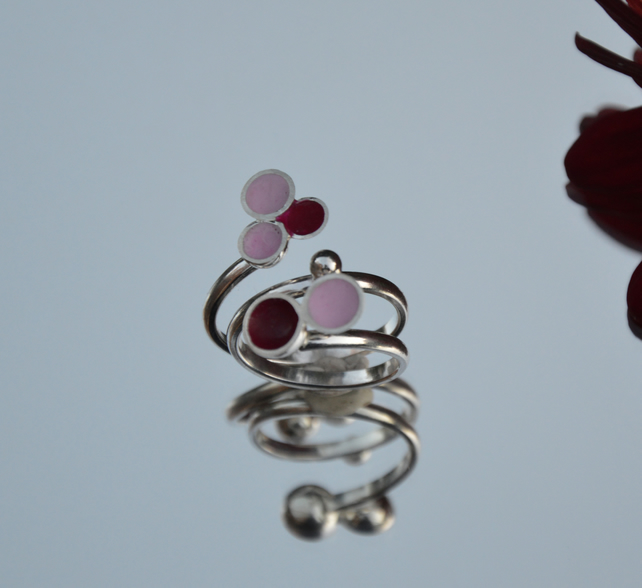 Sterling silver Pale pink and hot pink enamel wrap ring
