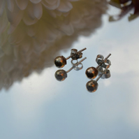 Sterling silver and 9 carat gold stud earrings