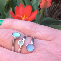 Sterling silver pale blue and green enamel wrap ring to fit your finger or thumb