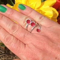 Sterling silver ring filled with hot pink cold enamel.