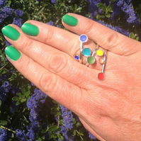 Sterling silver & rainbow coloured enamel adjustable wrap ring