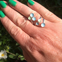 Sterling silver pastel blue and green enamel wrap ring