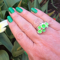 Sterling silver & florescent lime green enamel bubble ring