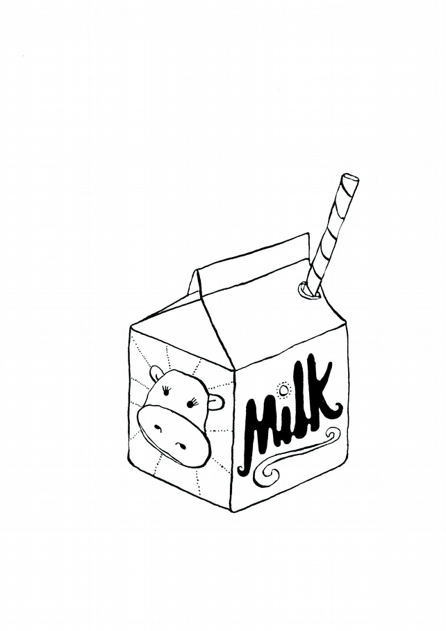 A4 Little Carton Of Milk Black And White Print Folksy
