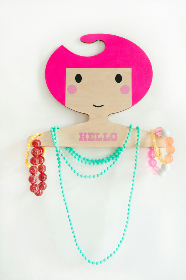 Personalised children's hand painted wooden clothes hanger - pink hair.