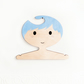 Blue haired boy's wooden clothes hanger