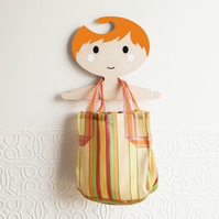 Orange haired boy's wooden clothes hanger  - white cheeks