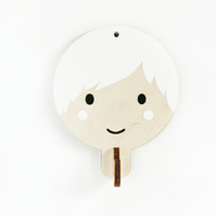 Children's wooden wall hooks - White haired boy