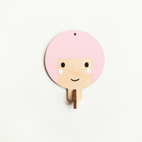 Children's wooden wall hooks - pink haired girl