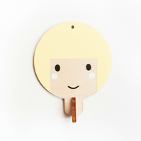 Children's wooden wall hooks - Light yellow haired girl
