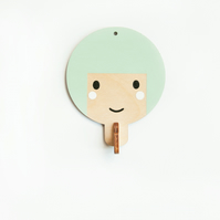 Children's wooden wall hooks - Light green haired girl