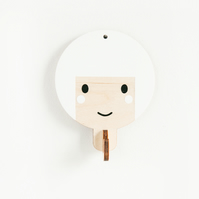 Children's wooden wall hooks - White haired girl
