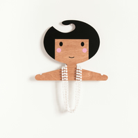 Girl's wooden hanger  -  Black hair, pink cheeks and darker skin tone