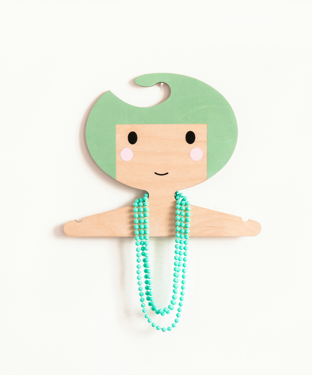 Minty Green Kids' Wooden Clothes Hanger - Girls Face Design