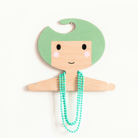 Minty green children's wooden clothes hanger
