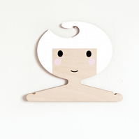 White haired girl wooden clothes hanger