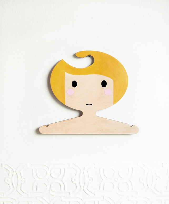 Gold children's plywood clothes hanger