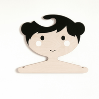 Black Haired children's plywood clothes hanger - Girl with buns
