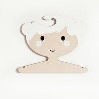 White children's plywood clothes hanger - Girl with buns