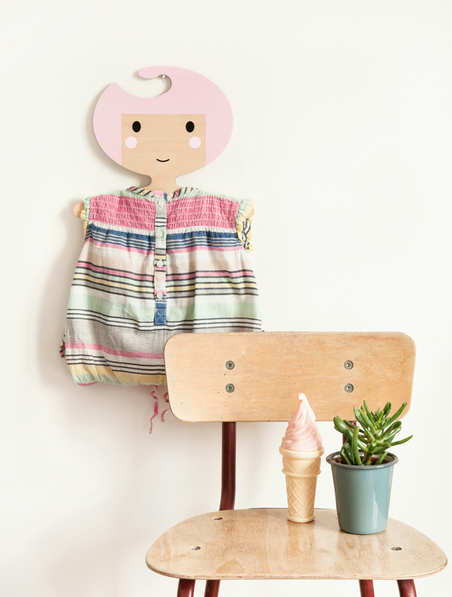 Children's Candy Pink shaped plywood clothes hanger.