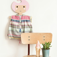 Children's  Face Shaped Plywood Clothes Hanger with Candy Pink Hair