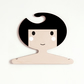 Black and white children's plywood clothes hanger