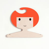 Children's plywood clothes hanger - Girl with orange hair.