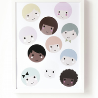 Happy little people print - 40 x 30cm