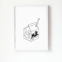 A4 - Little Carton of Milk - black and white print