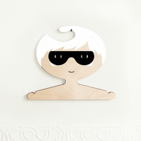 White Haired Super Boy Plywood Clothes Hanger.