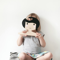 Black and White Children's Plywood Clothes Hanger with a Swoopy Fringe