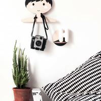 Children's wooden clothes hanger  -Black and white boy