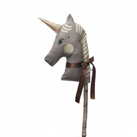 Dusky Brown and Sparkly Gold Unicorn Hobby Horse for Dressing Up Games