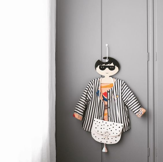 Black and white boy Super Hero plywood clothes hanger.