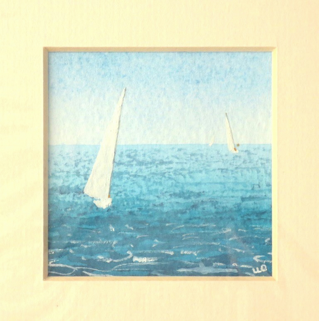 Original minature watercolour painting yachts sailing on the ocean